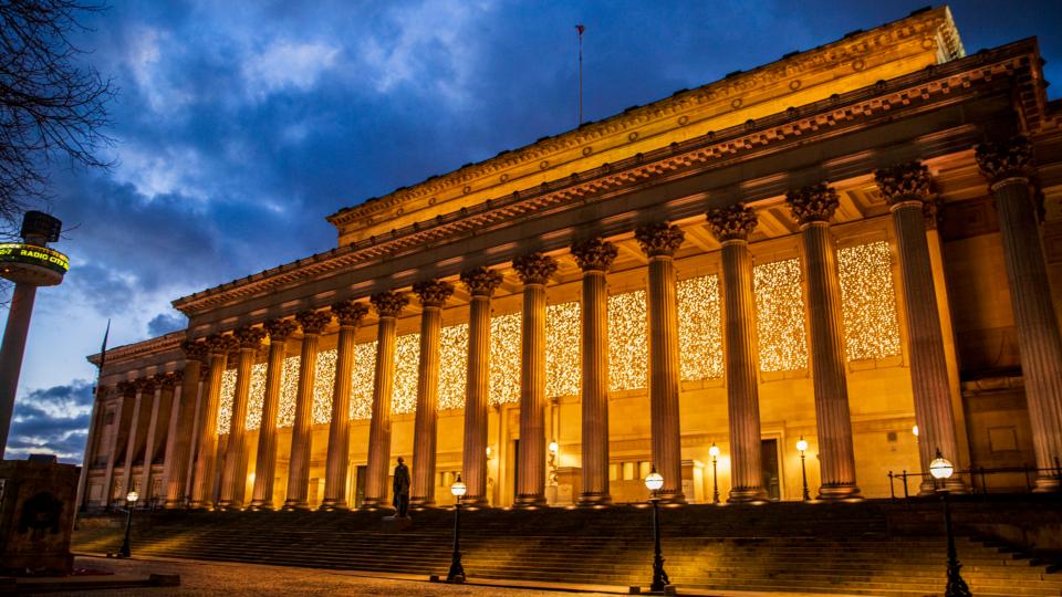 St George's Hall lit up orange for the last Orange the World campaign