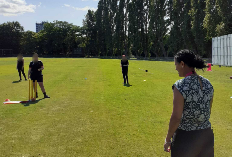 Savera UK CEO Afrah Qassim plays cricket with All Stars Cricket and Savera UK clients